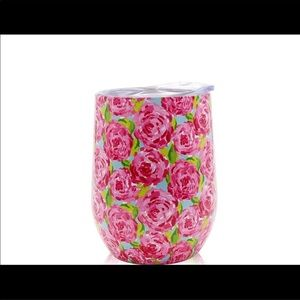 Wine Tumbler Lilly Pullitzer Roses print 🆕